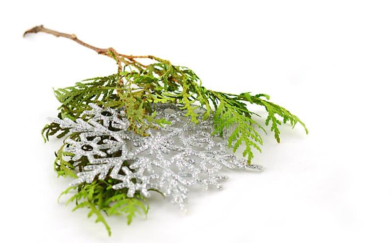 Copos de nieve de la Navidad con la ramita spruce imagenes de archivo