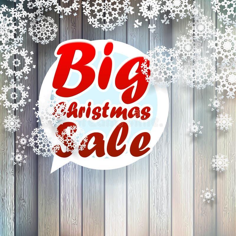 Copos de nieve de la Navidad con venta grande. stock de ilustración