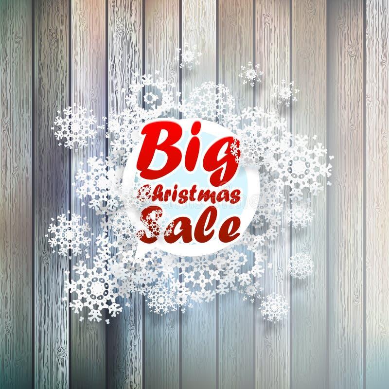 Copos de nieve de la Navidad con venta grande. ilustración del vector
