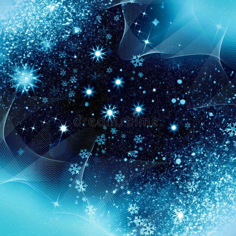 Copos de nieve de la noche de la Navidad stock de ilustración