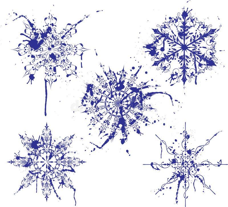 Copos de nieve de la pintura de Grunge, elementos para el diseño, vector ilustración del vector