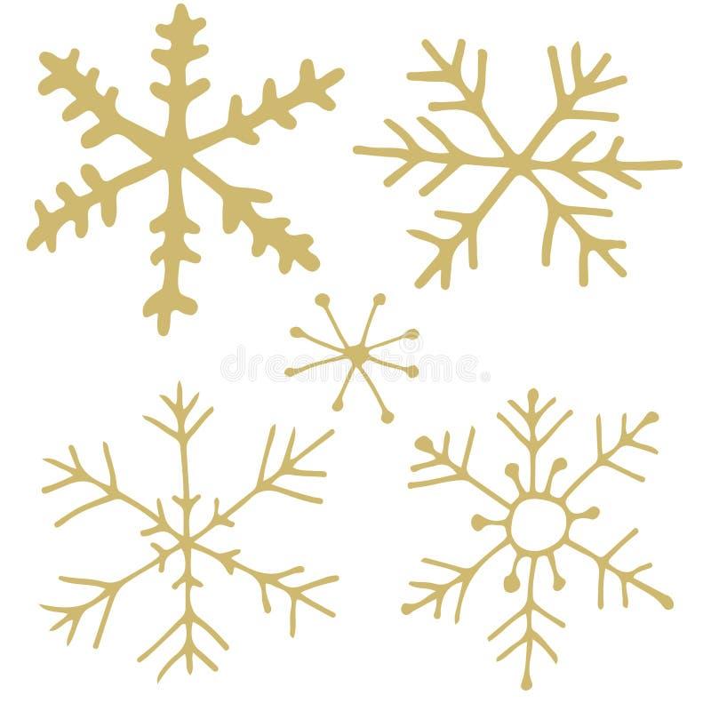 Copos de nieve de oro stock de ilustración
