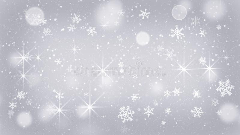 Copos de nieve de plata y fondo abstracto de las estrellas stock de ilustración
