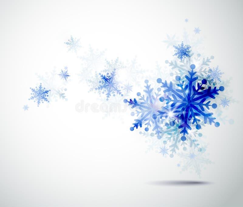 Copos de nieve del azul del invierno stock de ilustración