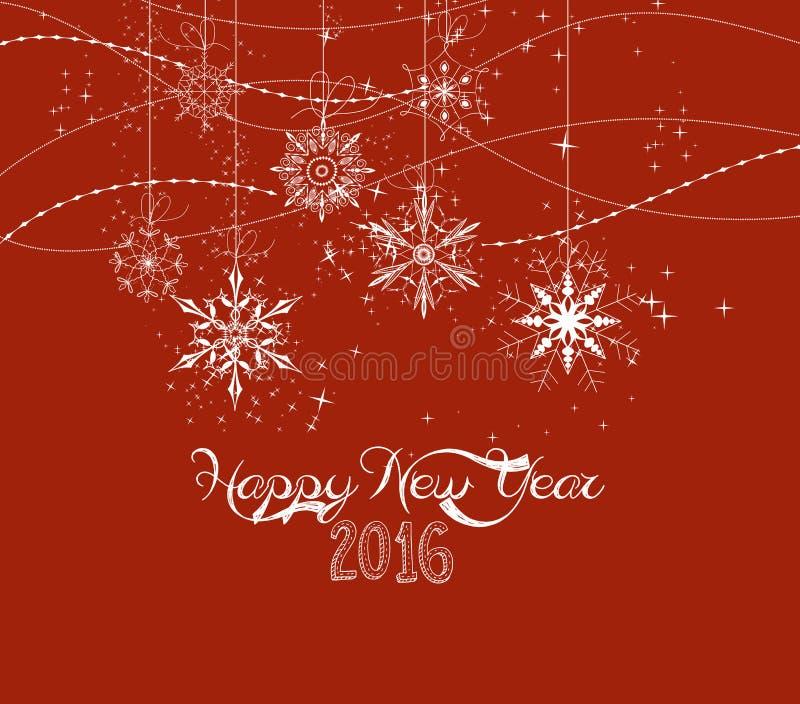 Copos de nieve del garabato de la Feliz Año Nuevo 2016 ilustración del vector