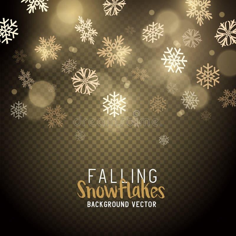 Copos de nieve del invierno de la Navidad del oro ilustración del vector