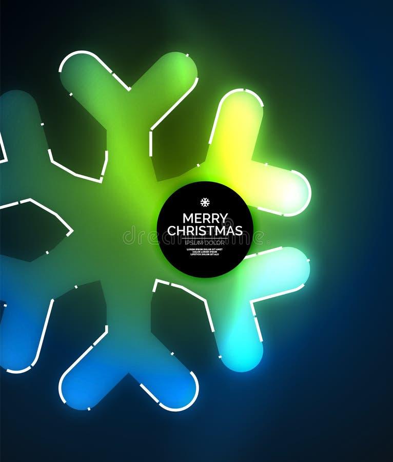 Copos de nieve del invierno que brillan intensamente en fondo de la oscuridad, del día de fiesta de la Navidad y del Año Nuevo stock de ilustración