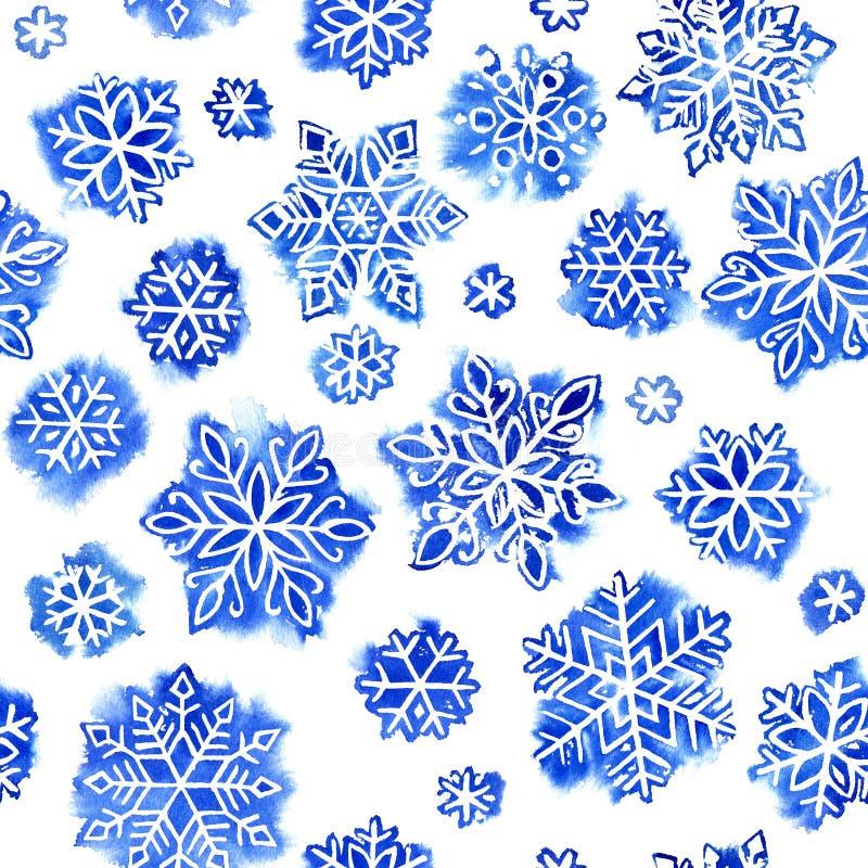 Copos de nieve del modelo de la acuarela imágenes de archivo libres de regalías