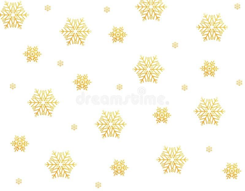 Copos de nieve del oro ilustración del vector