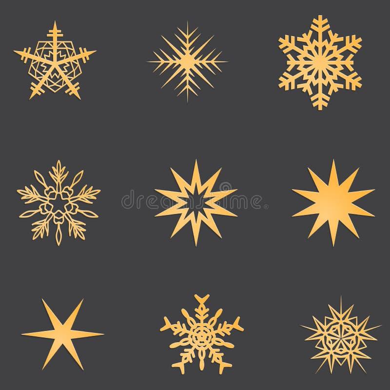 Copos de nieve del oro fijados con la sombra imágenes de archivo libres de regalías