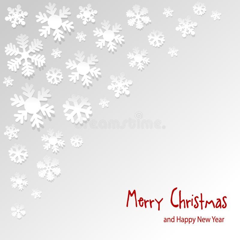 Copos de nieve del papel del vector de la postal de la Navidad en la esquina en un fondo gris stock de ilustración