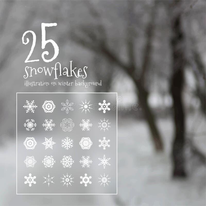 25 copos de nieve del vector libre illustration