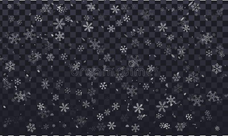 Copos de nieve del vector en el fondo transparente, transparente, con las escamas de la nieve libre illustration