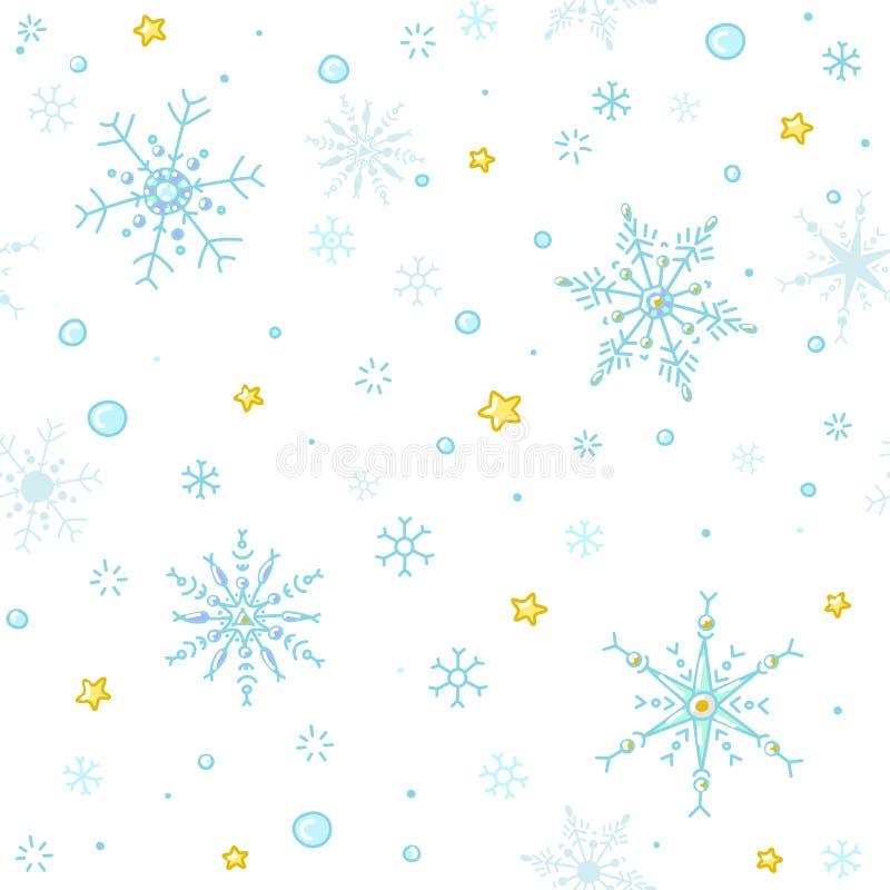 Copos de nieve del vector del estilo del garabato y fondo inconsútil de las estrellas stock de ilustración