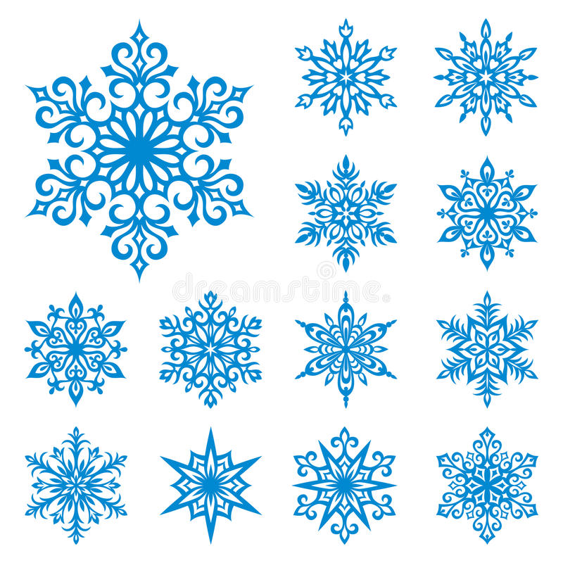 Copos de nieve del vector fijados ilustración del vector