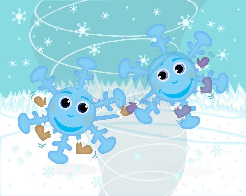 Copos de nieve, diversión del invierno ilustración del vector