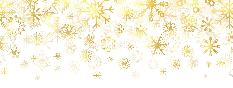 Copos de nieve dorados sobre fondo blanco Borde dorado de copos de nieve con diferentes adornos Banner navideño de lujo Invierno ilustración del vector