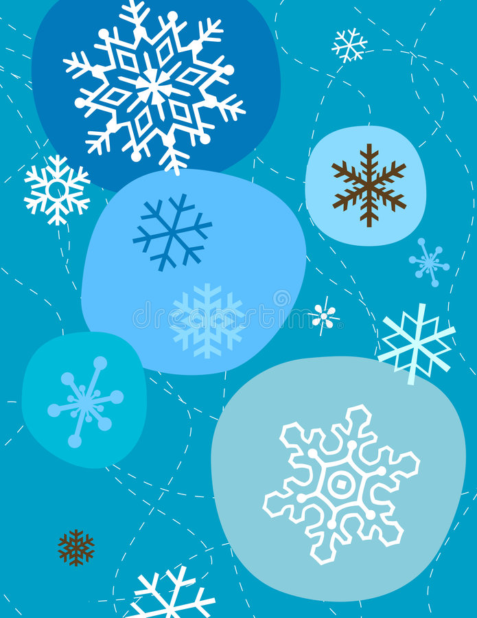 Copos de nieve en azul stock de ilustración