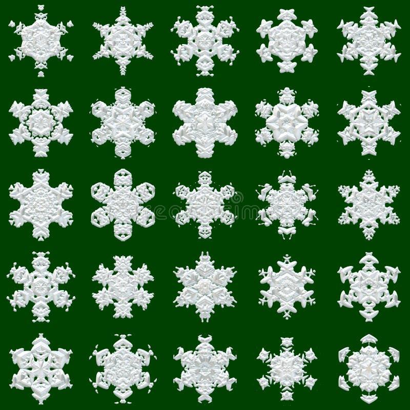 25 copos de nieve en fondo verde stock de ilustración