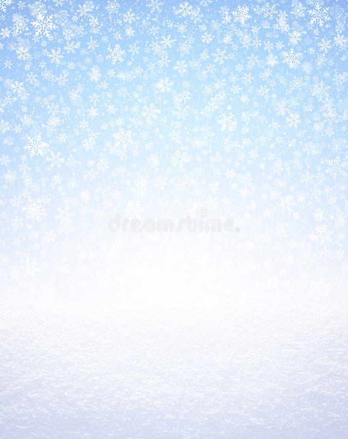 Copos de nieve en la tierra azul y nevada stock de ilustración