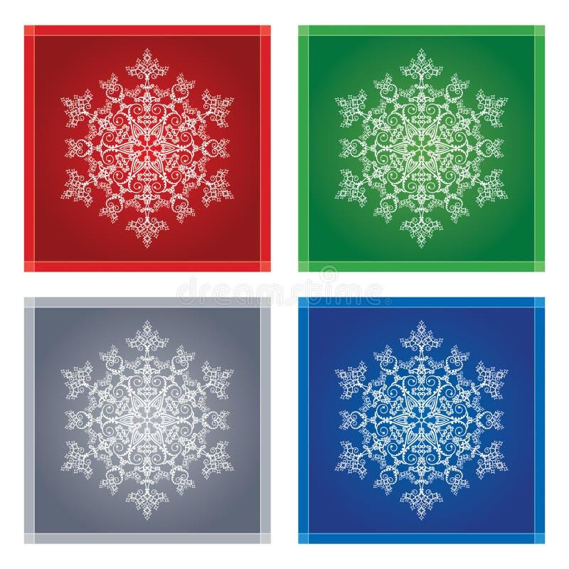 Copos de nieve en marcos coloreados stock de ilustración