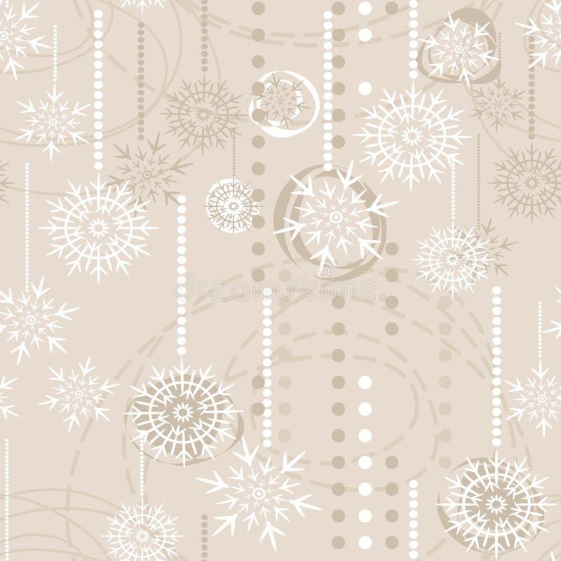 Copos de nieve en modelo inconsútil del día de fiesta amarillento ilustración del vector