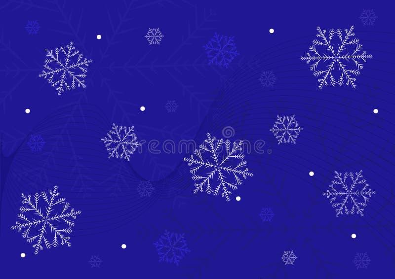 copos de nieve en un fondo azul stock de ilustración