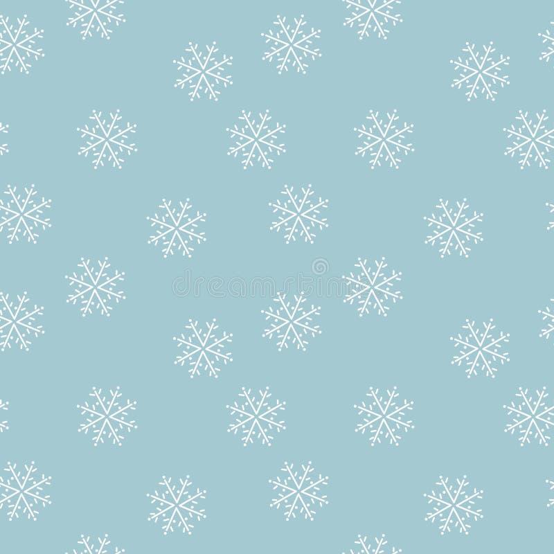 Copos de nieve exhaustos de la mano en fondo azul Modelo incons?til stock de ilustración
