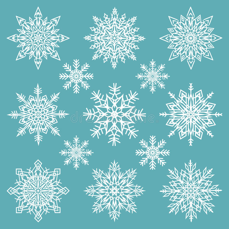 Copos de nieve fijados libre illustration