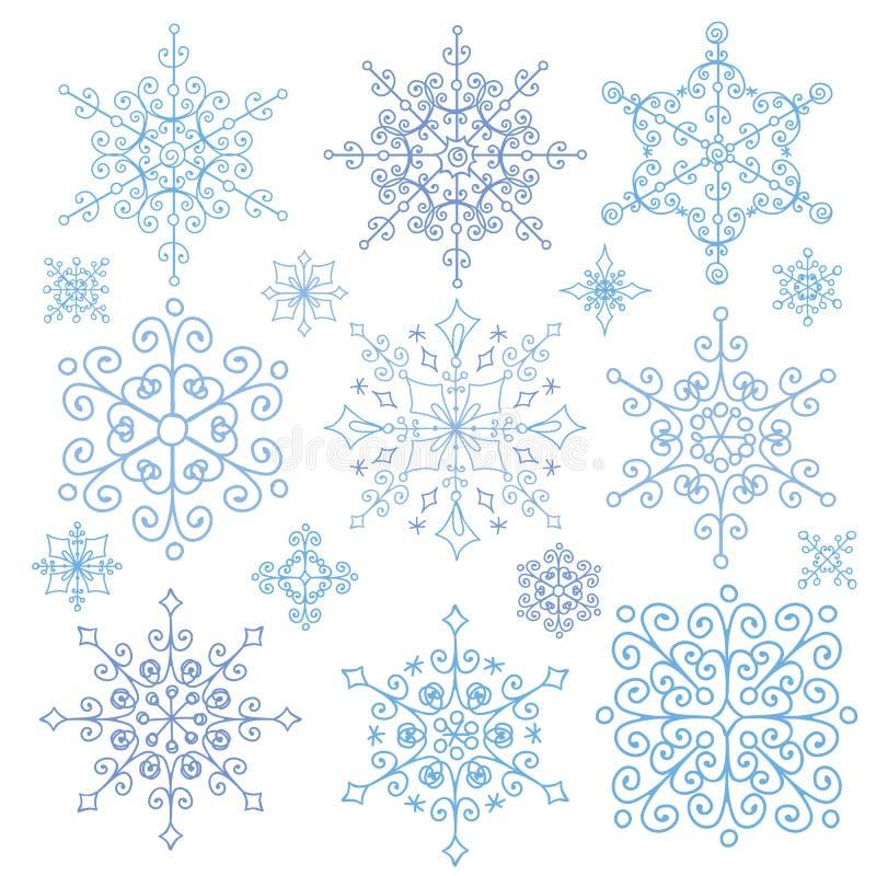 Copos de nieve fijados La Navidad, Año Nuevo, rosetones del cordón del invierno stock de ilustración