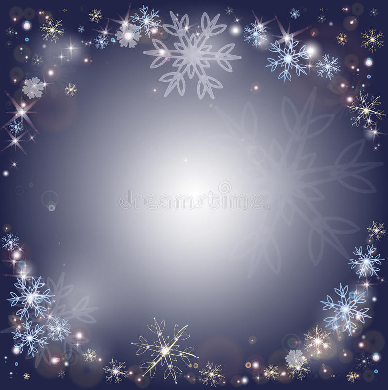 Copos de nieve, fondo escarchado de la nieve del invierno ilustración del vector