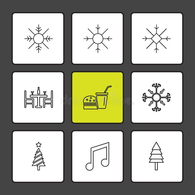 copos de nieve, la Navidad, el 25 de diciembre, inviernos, música, árbol, árboles stock de ilustración