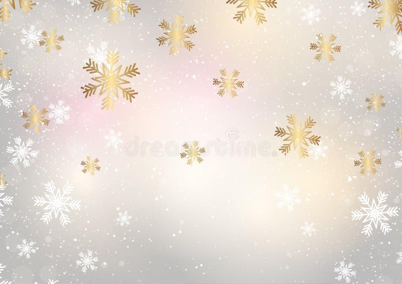 Copos de nieve de la Navidad en un fondo del oro ilustración del vector
