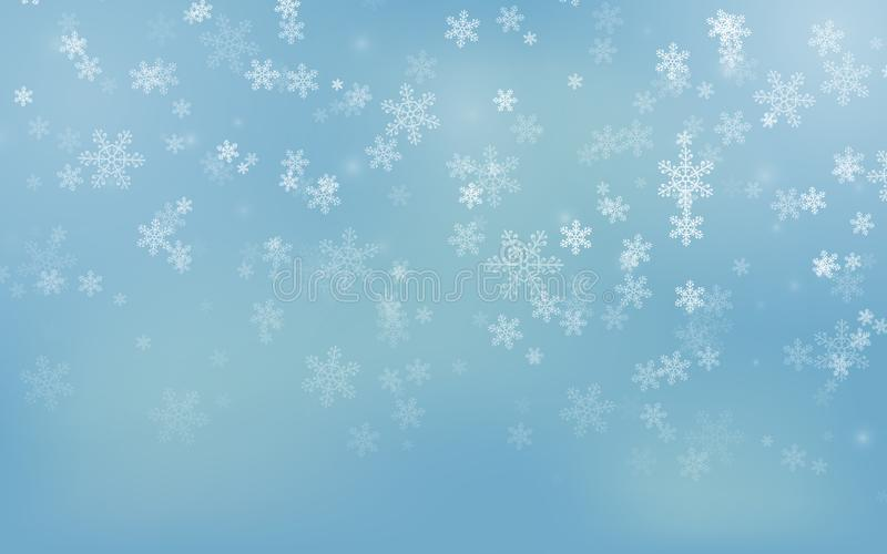 Copos de nieve de la Navidad que caen en fondo azul Fondo de la Feliz Navidad Estación del invierno Ilustración del vector EPS 10 ilustración del vector