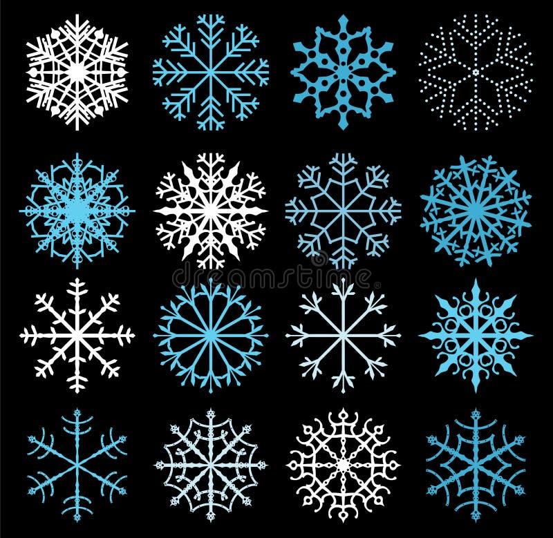Copos de nieve lindos del vector en azul y blanco stock de ilustración