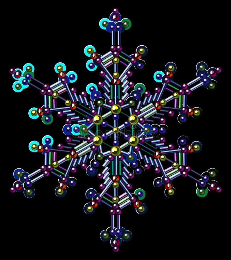 Copos de nieve multicolores de las lentejuelas Clip art del vector Fondo negro ilustración del vector