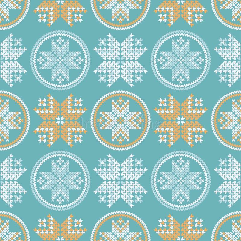 Copos de nieve noruegos hechos punto Fondo inconsútil Motivos populares Modelo del invierno libre illustration