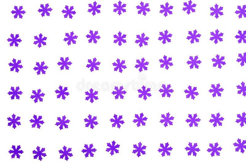 Copos de nieve púrpuras hermosos en el fondo blanco fotos de archivo