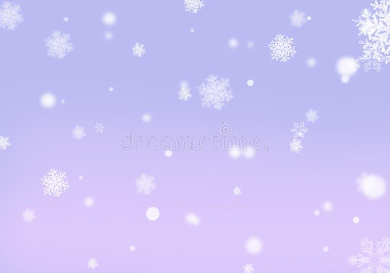 Copos de nieve púrpuras de la lila del fondo con la orientación horizontal del efecto del bokeh ilustración del vector