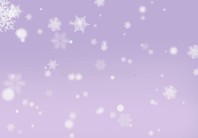 Copos de nieve púrpuras de la lila del fondo con la orientación horizontal del efecto del bokeh libre illustration