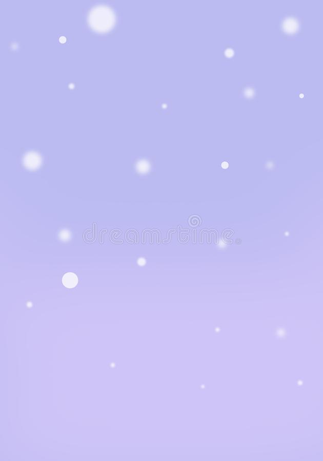 Copos de nieve púrpuras de la lila del fondo con la orientación vertical del efecto del bokeh stock de ilustración