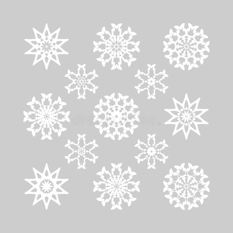 Copos de nieve para el diseño de la Navidad stock de ilustración