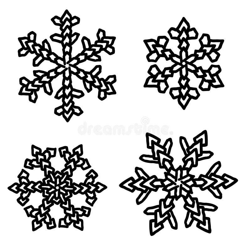 Copos de nieve para las ilustraciones del diseño Colección del día de fiesta Colección negra de los copos de nieve aislada en el  stock de ilustración