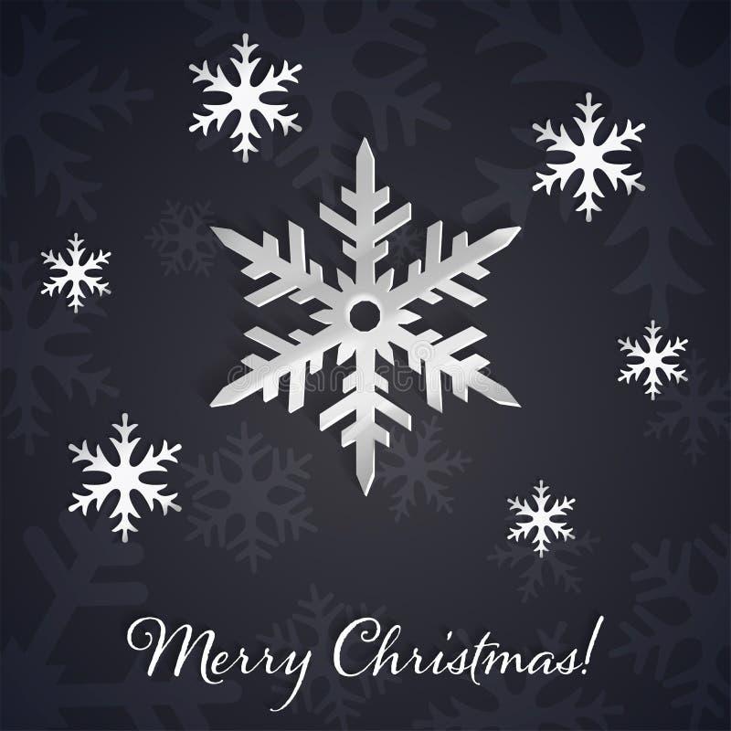 Copos de nieve de plata 3D en el invierno oscuro y el fondo del Año Nuevo con las siluetas del copo de nieve stock de ilustración