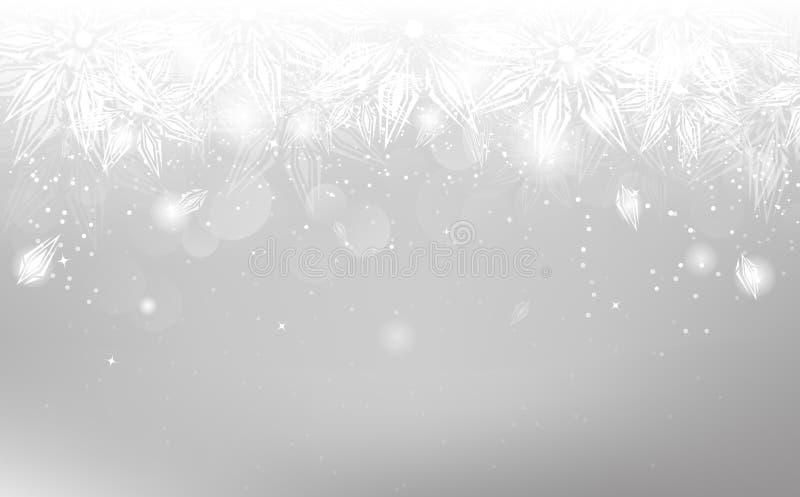 Copos de nieve de plata, vacaciones de invierno de la Navidad, ornamento elegante, a ilustración del vector