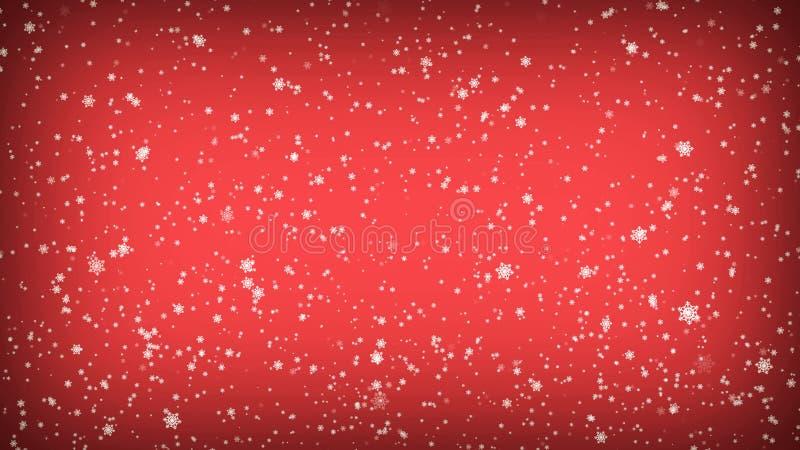 Copos de nieve que caen en un fondo rojo Ejemplo de la Navidad ilustración del vector