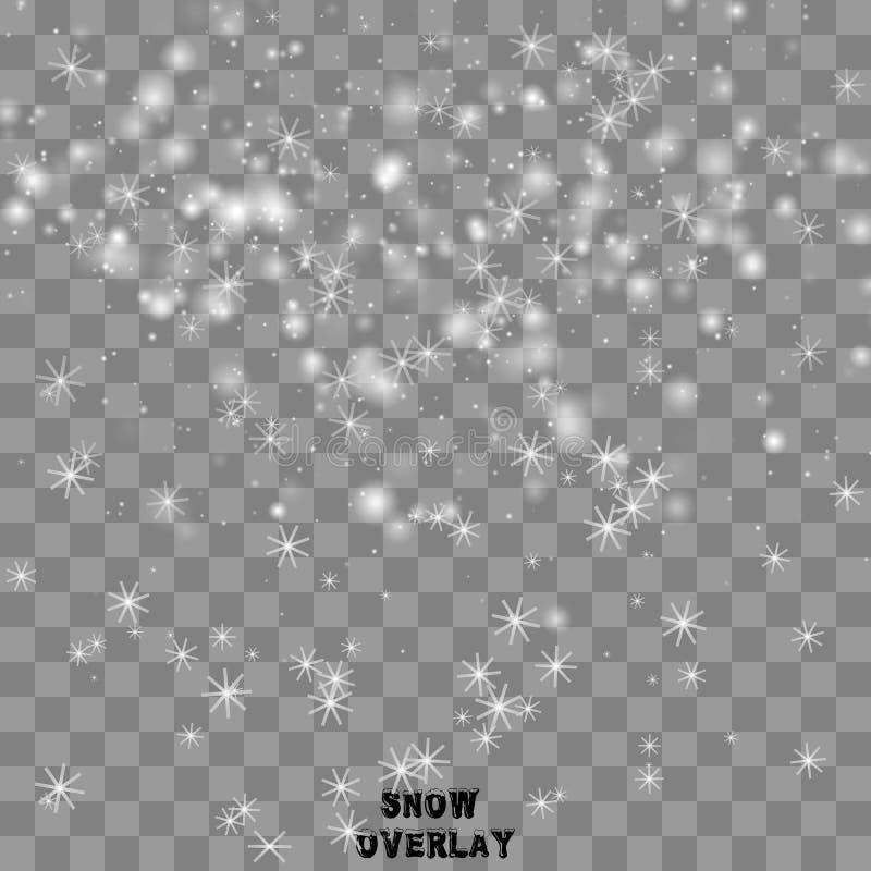 Copos de nieve que caen realistas stock de ilustración