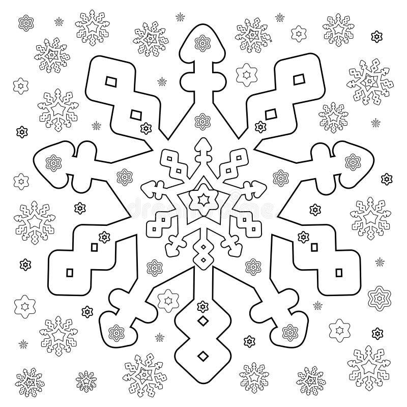 Copos de nieve que colorean la página libre illustration
