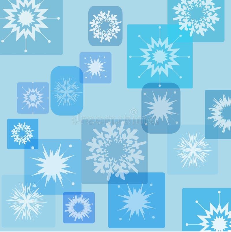 Copos de nieve retros ilustración del vector