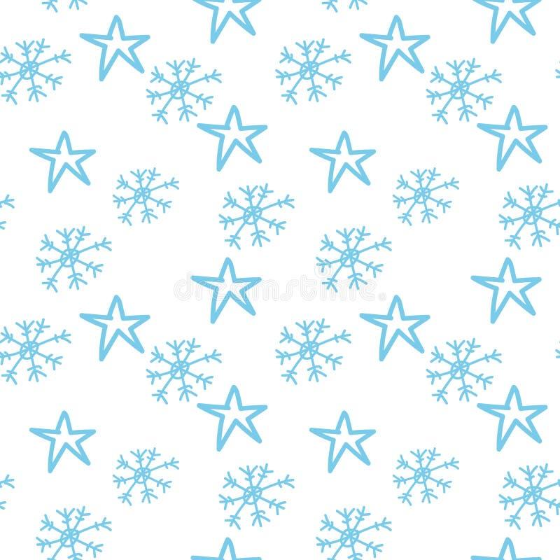 Copos de nieve y estrellas ilustración del vector